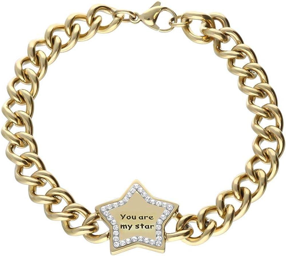 Stroili bracciale star per donna in acciaio dorato. stella centrale con scritta
