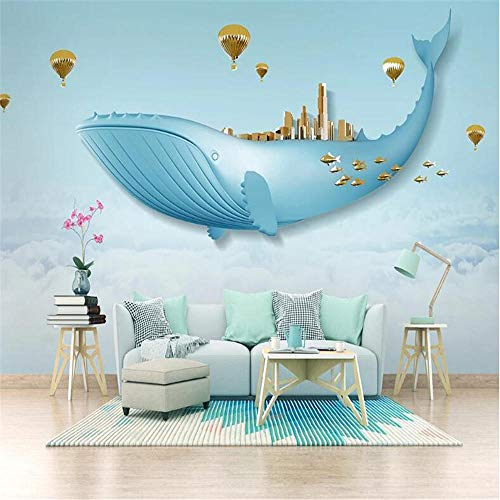 rylryl Nordic Creative Sky White Cloud Whale Art Wallpaper Mural Children's Baby Room 3D Wall Cartoon Mural wallpaper-200X140CM