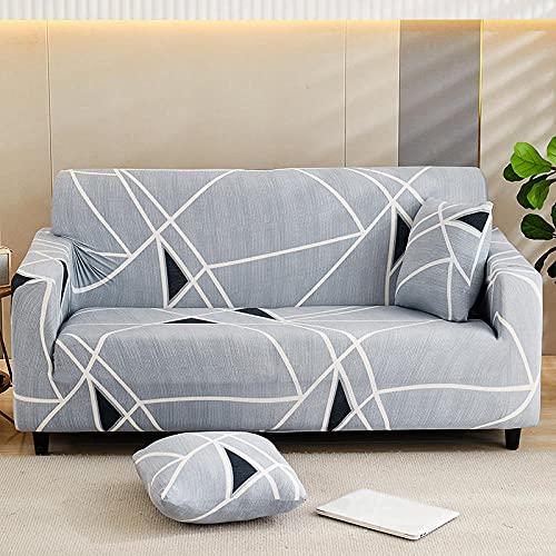 Funda Elástica para Sofá Impreso Gris-Plata 1 Plaza Universal Funda Cubre Sofas Ajustables Antideslizante Decorativas Protector Sofa de Muebles (90-140cm)
