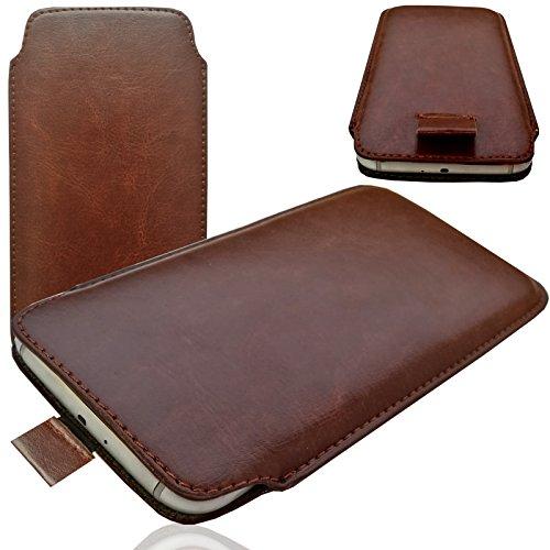 MOELECTRONIX HQ BRAUN Slim Cover Case Schutz Hülle Pull UP Etui Smartphone Tasche passend für Mobistel Cynus F9