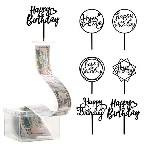107 Pieces Cake Money Box Kit, Pulling Money Box Cake Topper Money Box Kit with 6 Pieces Happy Birthday Cake Topper, 100 Pieces Clear Bag Connected Pockets for Cake Decoration Party Favor (Black)