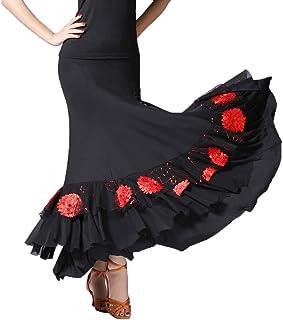 2f56cf193ab54 perfeclan Jupe de Danse Flamenco Paillettes à Longue Accessoires de Danse  Moderne Robe de Tango