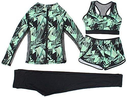 ZHRUI Maillot de Bain 4 pièces été Sport Split Flat Pants Sunscreen Sau Maillot de Bain Fil de Fleur Fragile, Net (Couleuré   comme montré, Taille   Taille Unique)