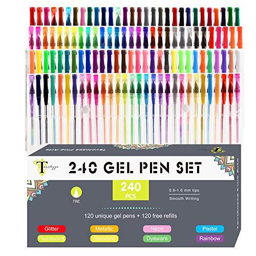 Tavolozza - Set di penne gel 240 colori, 40% in più di inchiostro neon glitterato, 120 penne gel uniche più 120 ricariche per libri da colorare per adulti