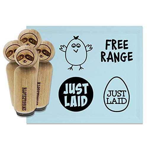 Just Laid Egg Free Range Chicken Rubber Stamp Set for Stamping Crafting Planners - 1/2 Inch Mini