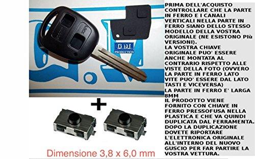 G.M. Production - 1383KIT + 2SW1 - Chiave set scocca guscio cover key tasti TOY da 8mm + tasti e interruttori [controllare foto e dettagli compatibilità]