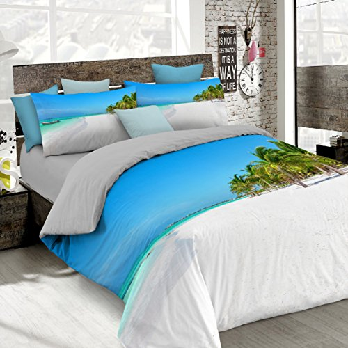 Italian Bed Linen, 8058575011310- Juego de Funda de edredón nórdico con Estampado Digital, Cobertura Total en Funda y Almohadas, Aw-10 (Multicolor), 100% algodón, matrimonial, 250 x 200 x 1 cm