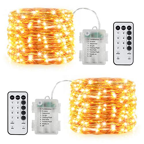 Opard 2stk 100er LED Lichterkette Batterienbetrieben Fernbedienung und Timer 10M 8 Modi, IP65 Wasserdicht Kupferdraht Lichterkette für Innen Außen Weihnachten Party Schlafzimmer Weihnachtsbaum