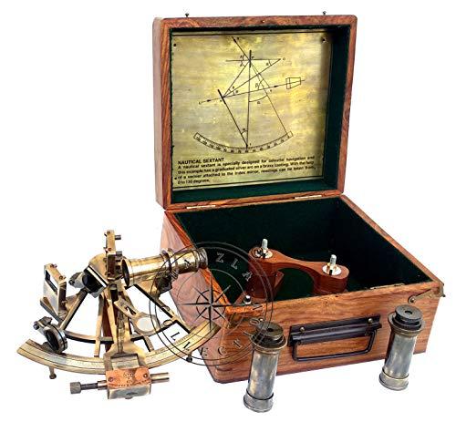 Hanzla Collection Schubkarre mit 2 Teleskopen, maritim, antikes Messing, nautisches Schiff, Sextant