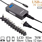Slim Universal Laptop Charger Replacement AC Adapter 70W with Multi Connectors for HP BM Lenovo Thinkpad Dell Sony Fujitsu Acer Delta Gateway Toshiba Liteon Samsung Notebooks Ultrabook and More Black