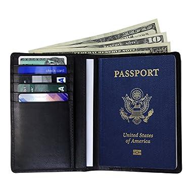 AurDO RFID Blocking Genuine Leather Passport Holder Wallet (Nappa Black)