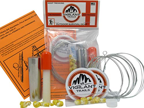 Vigilant Trails Survival Squirrel Pole Snare Trap Kit   As Seen in Military Manuals   3 Squirrel Calls Included   Squirrels are As Plentiful As Fish   Compact & Field Tested