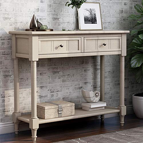 Sofa Table with Drawers Entryway Table Wood Console Table with Two Storage Drawers and Bottom for Living Room (Retro Grey)