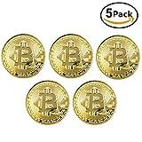 Ulable 5 unids Moneda de Oro / Plata / Cobre Chapado Bitcoin Moneda Moneda Virtual Coleccionables Regalo BTC Coin Art Collection Física (Oro)