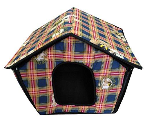 Ducomi Dogbnb - Casetta in Morbido Tessuto per Cani e Gatti - Cuccia Pieghevole per Cane e Gatto a Forma di Casa (S, Random Colors)