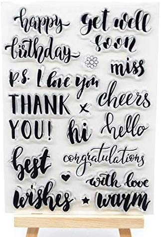 Welcome to Joyful Home 1pc Happy Birthday Cheers Sentiment Clear Stamp for Card Making Decoration and Scrapbooking