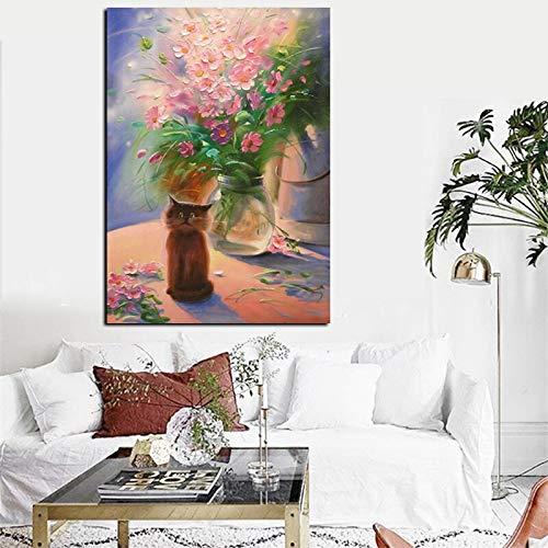 wZUN Impresión de Gran tamaño florero Moderno Pintura al óleo Abstracta sobre Lienzo Arte Cuadro de la Pared decoración Moderna de la Sala de Estar 50x70 CM