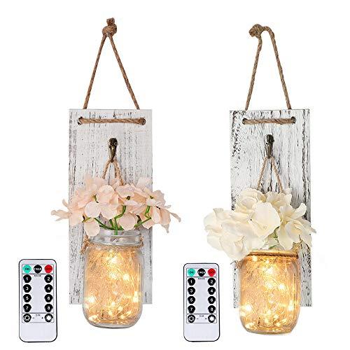 2-delig / los in hete wandlamp wit houten plank muur kandelaar upgrade afstandsbediening functie waterdicht DIY huis wanddecoratie