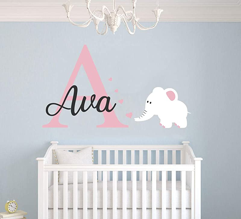 Personalized Name Elephant Animal Series And Hearts Baby Girl Wall Decal Nursery For Home Bedroom Children Wide 28 X17 Height