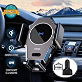 Wireless Car Charger, 10W/7.5W/5W Qi Fast Wireless Car Charger Mount, Infrared Induction Auto-Clamping Air Vent Car Wireless Charger for iPhone, Android Wireless Charging Series