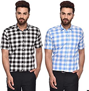 ACCOX Half Sleeves Combo Pack Checkered Formal Regular Fit Cotton Shirt for Men(Pack of 2)