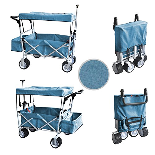 Blue Push and Pull Handle Folding Stroller Wagon Outdoor Beach Sport Collapsible Baby Trolley W/Canopy Gray Garden Utility Shopping Travel CART - Free ICE Cooler Bag - Easy Setup NO Tool Necessary