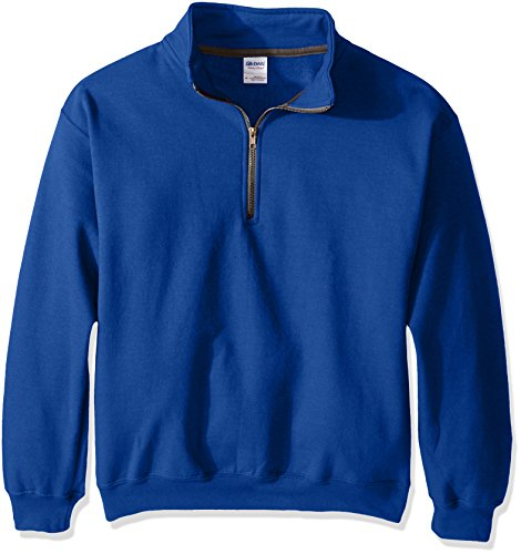 Gildan Men's Fleece Quarter-Zip Cadet Collar Sweatshirt, Royal, Large