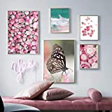 HGNFD Set de póster - Seascape Canvas Painting Plant Rose Butterfly - Arte de Pared para Sala de Estar-Ax2 Dx3 pcs sin Marco