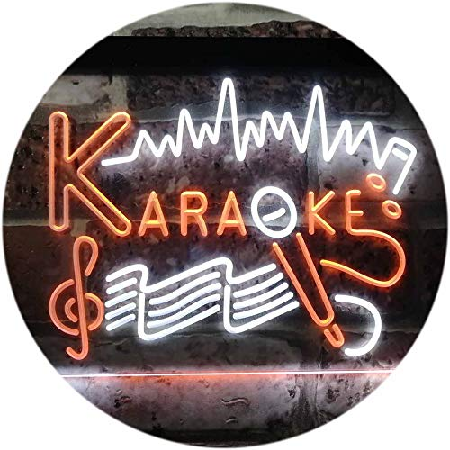 ADV PRO Karaoke Lounge Bar Club Home Music Dual Color LED Enseigne Lumineuse Neon Sign Blanc et Orange 400 x 300mm st6s43-i3156-wo