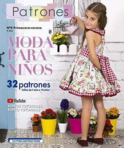 """Revista Patrones Infantiles nº9 Moda Primavera-verano, 32 patrones de costura infantil con tutoriales en vídeo (youtube),"""" niña, niño"""" Talla de 1 a 12 años variados. Cutting instructions in English."""