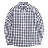 Camisa de Manga Larga Lisa sólida/a Cuadros para Hombres Camisas Informales con Botones de Negocios Tops Moda de Primavera Tops Delgados de Moda XXL