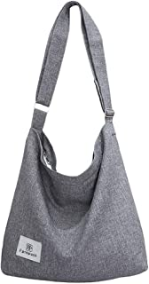 Fanspack Women's Canvas Hobo Handbags Simple Casual Top Handle Tote Bag Crossbody Shoulder Bag Shopping Work Bag (Light Grey)