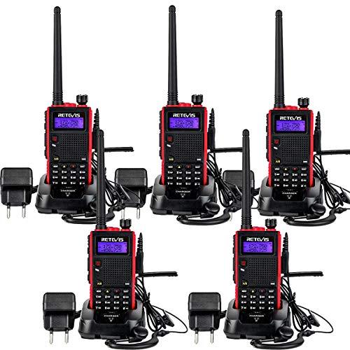 Retevis RT5 Walkie Talkie Dualband 2m/70 cm Amateurfunk mit FM-Radio, Handfunkgerät mit Ohrhörern VOX CTCSS/DCS für Warehouse Hotel(5 Stück)
