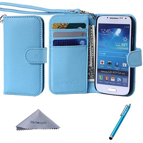 S4 Mini-Cover, Wisdompro?, in pelle PU Premium, 2-in-1-a] [a portafoglio con porta carte di credito e cordino da polso, per Samsung Galaxy S4 Mini, non compatibile con S4)