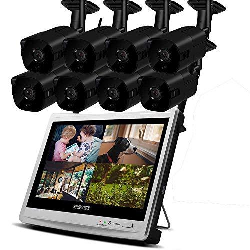 Camaras de vigilancia wifi 1080p Salida HD NVR CCTV Sistema de seguridad WIFI Video Vigilancia Kit Grabador Monitor LCD inalámbrico Exterior en casa + Disco duro de 2TB (2/4/6/8 CH) Camara de vigilanc