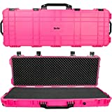 Eylar 44 Inch Protective Roller Tactical Rifle Hard Case with Foam, Mil-Spec Waterproof & Crushproof, Two Rifles Or Multiple Guns, Pressure Valve with Lockable Fittings Pink