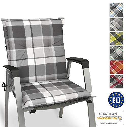 Beautissu Sunny GK Niedriglehner Auflage für Gartenstuhl 100x50 cm in Grau Kariert - Bequemes Sitzkissen Polsterauflage UV-Lichtecht - weitere Designs erhältlich