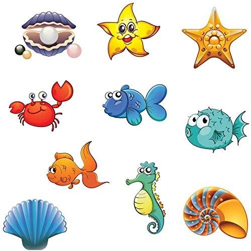 Rutschfeste Badewannenaufkleber, Meerestiere im Duschdesign, rutschfeste Sicherheitskleber für Badewannen und Duschoberflächen, insgesamt 10 Stück