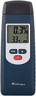 Wittime Wood Moisture Meter, Water Leak Detector and Thermometer for Wood & Building Materials, Digital LCD Pin Type 6 Material Settings For Home Inspection