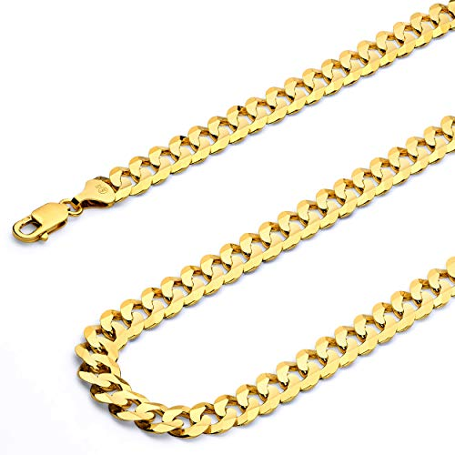 Wellingsale 14k Yellow Gold Solid 8mm Cuban Concaved Curb Chain Necklace - 22""