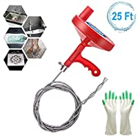 Plumbing Snake Drain Auger 25 Feet, Professional Sink Snake for Removing Sink Clog