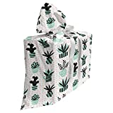 ABAKUHAUS Floral Sac Cadeau pour Fête Prénatale, Plantes Grasses et Plantes d'intérieur, Pochette en Tissu Réutilisable de Fête avec 3 Rubans, 70 x 80 cm, Multicolore