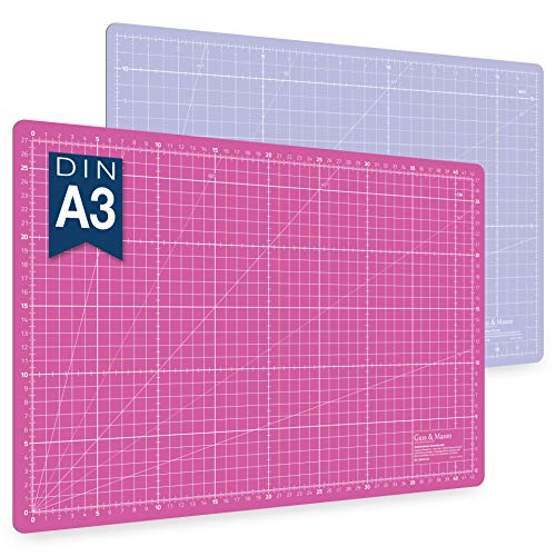 Alfombrilla de corte autorregenerable A3 en rosa, azul y verde. Perfecta para coser, manualidades y patchwork. Impresa por ambos lados 45 x 30 indicación en cm y pulgadas