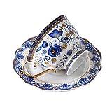 fanquare Tazza di Caffè e Piattino in Bone China di Fiori Blu, Vintage Tazza da Tè in Porcellana, 200 ml