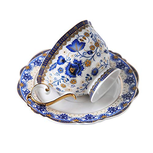 fanquare Blau Blume Fine Bone China Teetasse Set, Vintage Porzellan Kaffeetasse und Untertasse, 200ml