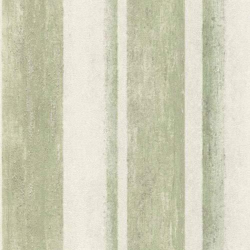 Rasch Tapeten Vliestapete (Grafisch) Grün weiße 10,05 m x 0,53 m Linares 617771 Tapete