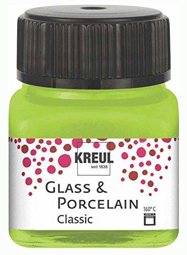 Kreul 16221 - Glass & Porcelain Classic maigrün, im 20 ml Glas, brillante Glas- und Porzellanmalfarbe auf Wasserbasis, schnelltrocknend, deckend