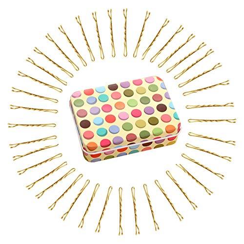 Hanyousheng 200 Stück Haarnadeln,Bobby Pins, Metall Gold haarklammer mit Aufbewahrungsbox,Wellenform Haarklammern,haarklammernfür Frauen Mädchen und Friseursalon