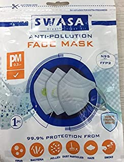 Swasa N95 Mask with noise pin |4 Layered Mask | With Valve | Pack of 5