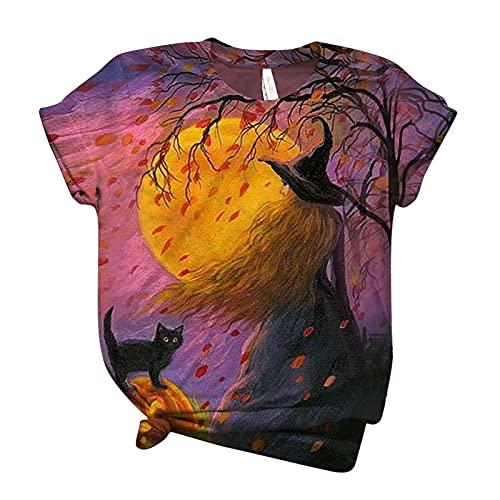 VICIKON Halloween Casual Oberteile,Vintage Katze T-Shirt,Katze auf Besen,Hexen Shirt,Schwarze Katze T-Shirt mit O-Ausschnitt,Damen Halloween-Druck Übergröße T-Shirts Kurzarm Grafik T-Shirt